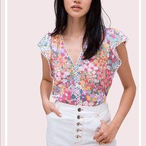 Kate Spade Floral Dots Burnout top